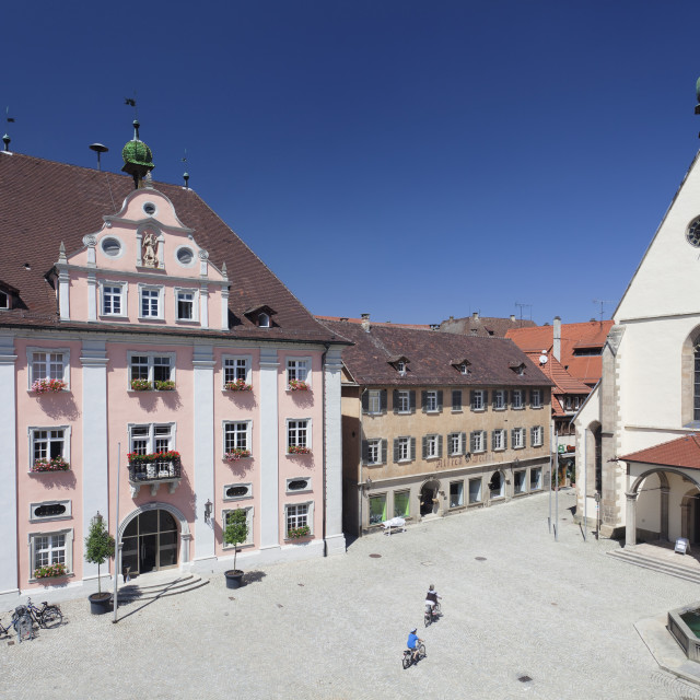"""""""Old town with market place, town hall and St. Martin Cathedral, Rottenburg am..."""" stock image"""