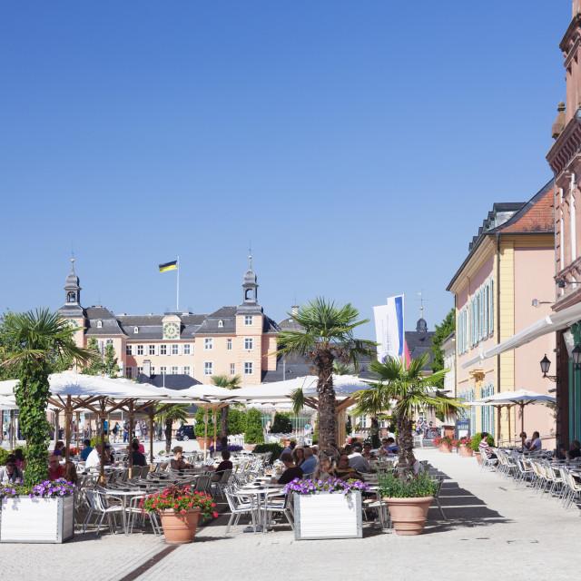 """""""Street cafes and Schloss Schwetzingen Palace, Schwetzingen,..."""" stock image"""