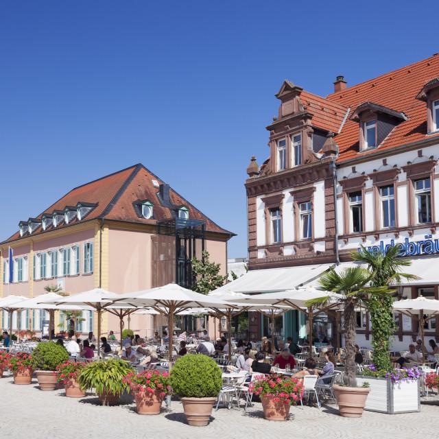 """""""Street cafe and Palais Hirsch, Schwetzingen, Rhein-Neckar-Kreis, Baden..."""" stock image"""