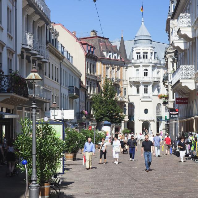 """Pedestrian area, Baden-Baden, Black Forest, Baden Wurttemberg, Germany, Europe"" stock image"