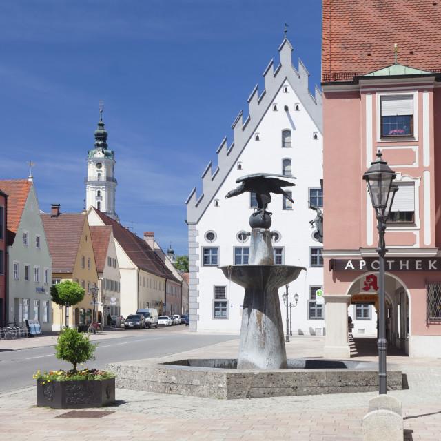 """""""Reichsstattbrunnen fountain and Pilgrimage church Heilig Kreuz, Donauworth,..."""" stock image"""