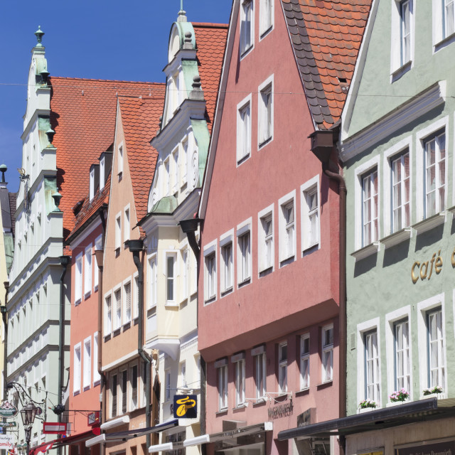 """""""Traditional colorful facades on Reichstradtstrasse, Donauworth, Romantic..."""" stock image"""