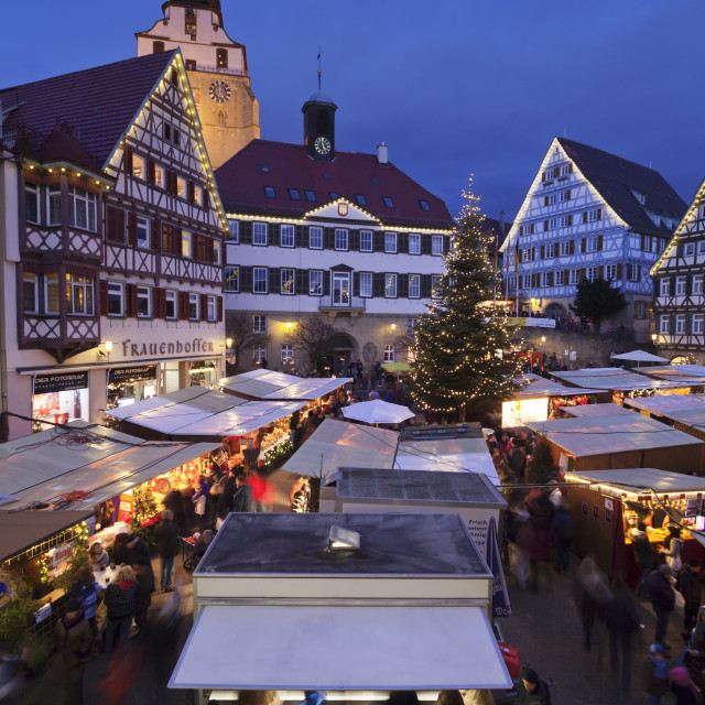 """""""Christmas Fair at the Market Place with Stiftskirche Church, Herrenberg,..."""" stock image"""