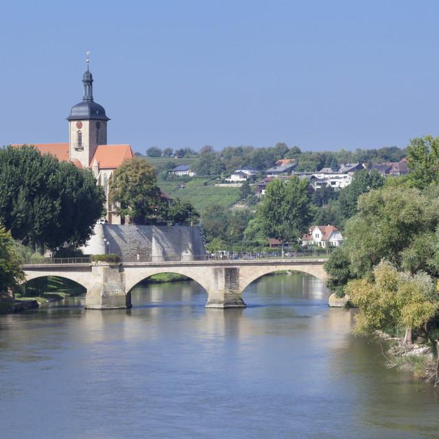 """Regiswindiskirche church at the old Bridge over the Neckar River, Lauffen am..."" stock image"