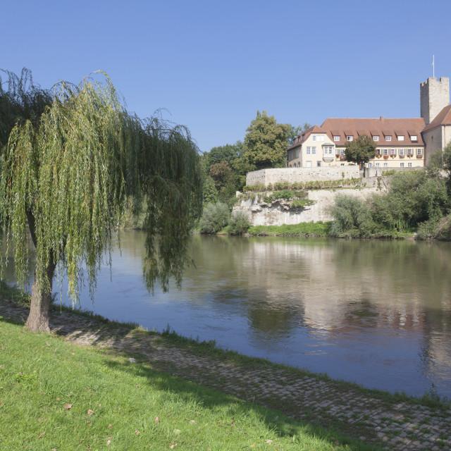 """Castle at the Neckar River, Lauffen am Neckar, Baden Wurttemberg, Germany"" stock image"