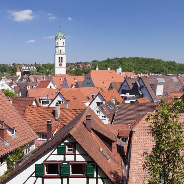 """""""Old town and Sankt Martin church, Biberach an der Riss, Upper Swabia, Baden..."""" stock image"""