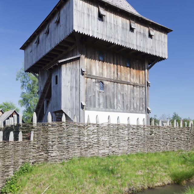 """Bachritterburg Castle, Kanzach, Upper Swabia, Baden Wurttemberg, Germany"" stock image"
