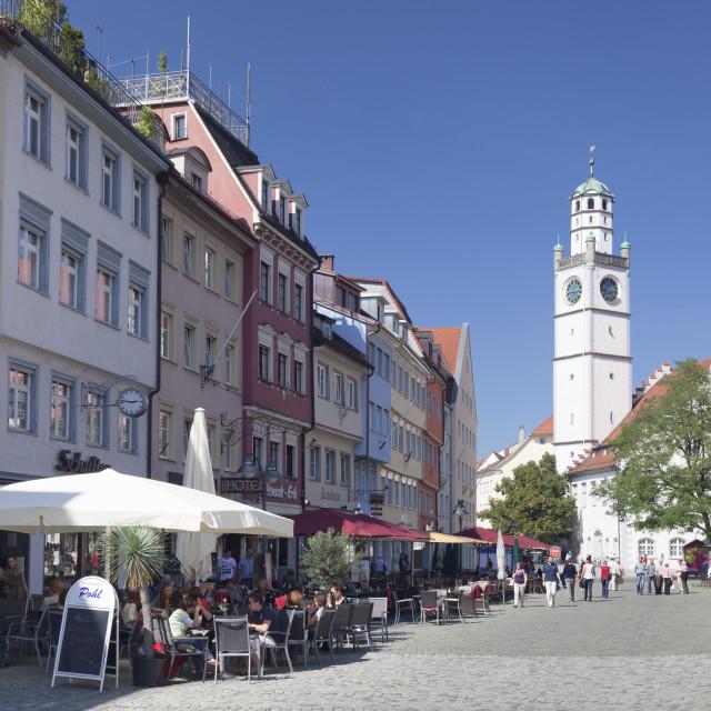 """Marienplatz Square with Waaghaus and Blaserturm Tower, Ravensburg, Upper..."" stock image"