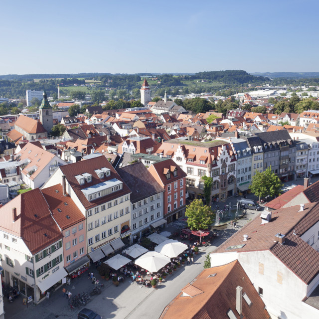 """""""View from Blaserturm Tower, old town, Ravensburg, Upper Swabia, Baden..."""" stock image"""