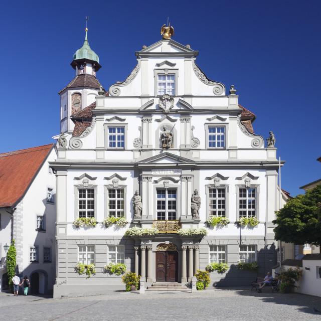 """Town Hall, Market Square, Wangen, Upper Swabia, Baden Wurttemberg, Germany"" stock image"