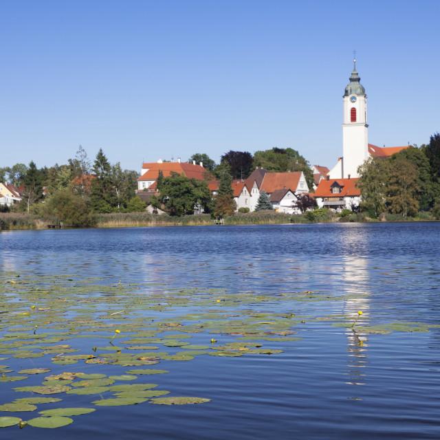"""Zellersee Lake, St Gallus and Ulrich Church, Kisslegg, Upper Swabia, Baden..."" stock image"