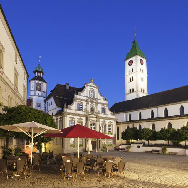 """Town Hall, Market Square, St Martin Church, Wangen, Upper Swabia, Baden..."" stock image"