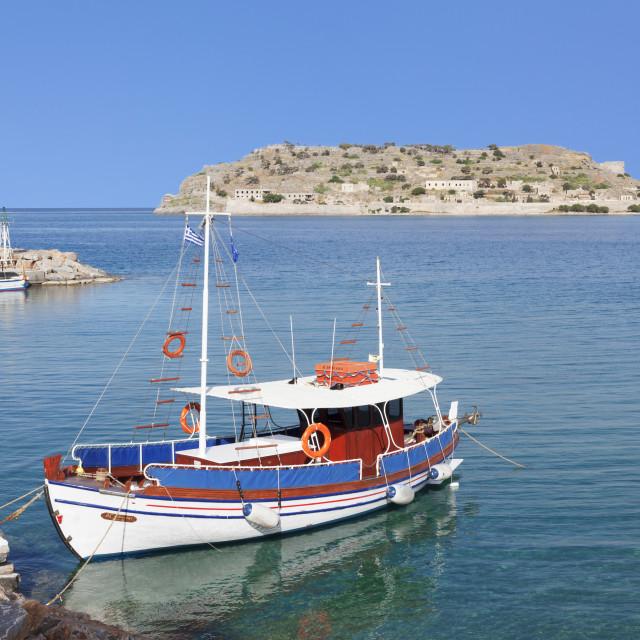 """View from Plaka to Spinalonga Island (Kalidon), former leper colony, Gulf of..."" stock image"