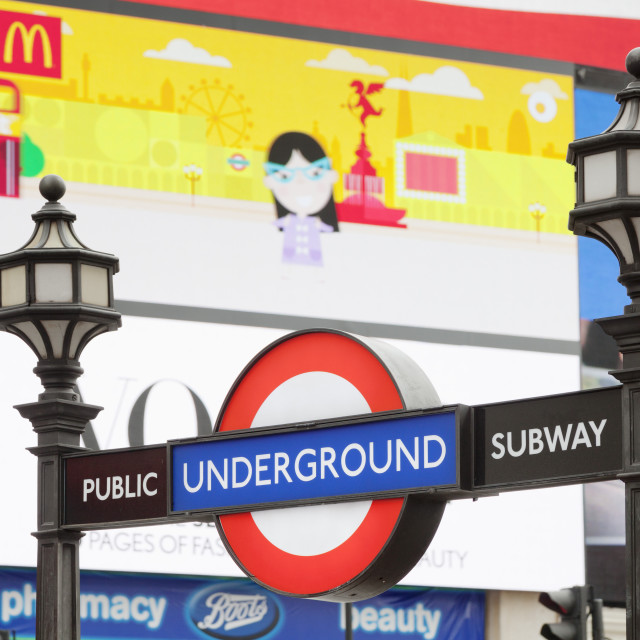 """""""Entrance to tube station, advertisement, Piccadilly Circus, London, England,..."""" stock image"""