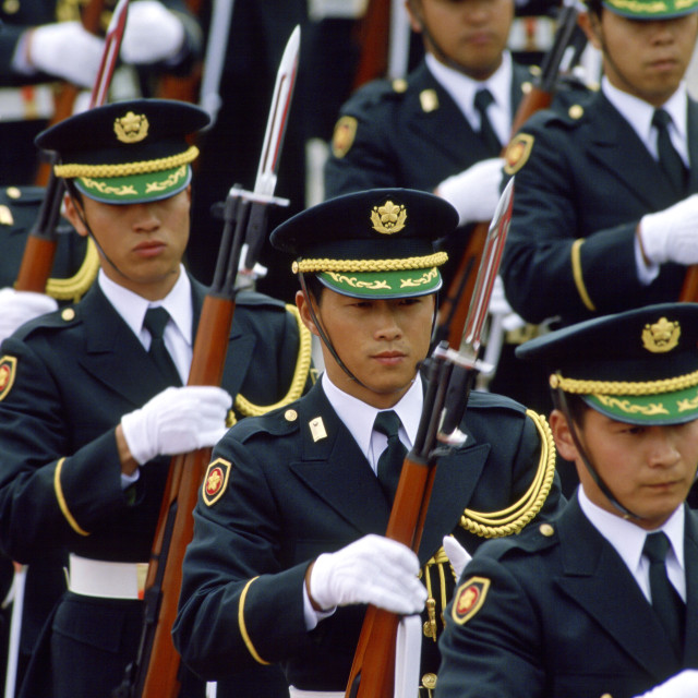 """""""Soldiers marching, Tokyo, Japan"""" stock image"""