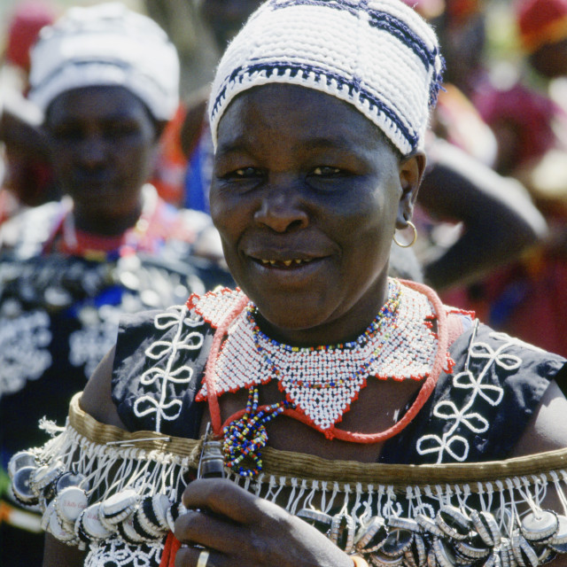 """Woman wearing traditional dress, Kenya, Africa"" stock image"