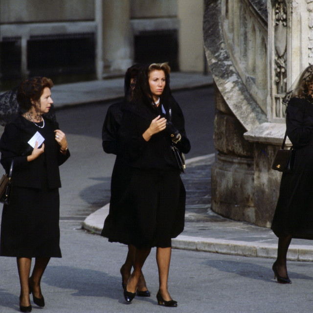 """Mourner s arrive for the funeral of Princess Grace of Monaco in Monte Carlo"" stock image"