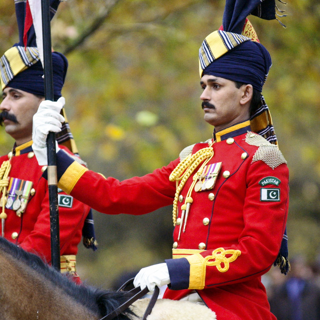 """""""Pakistan mounted guard attending ceremony in London to unveil memorial to..."""" stock image"""
