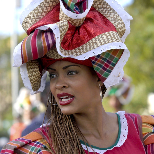 """""""Woman in Jamaican National costume at cultural festival in Kingston, Jamaica,..."""" stock image"""