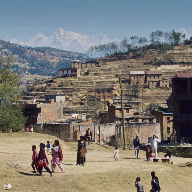 """Nepalese people going about daily life, Nepal."" stock image"