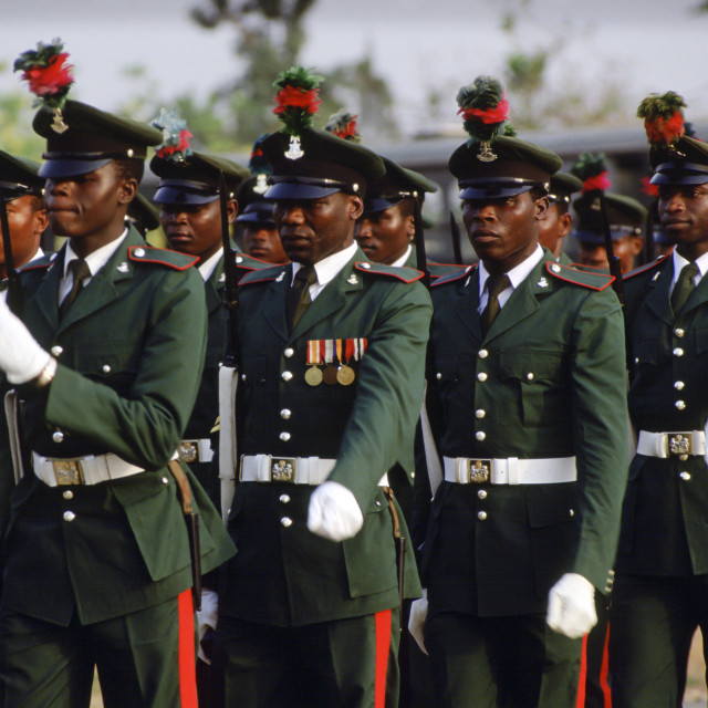 """""""Soldiers marching, Nigeria, Africa"""" stock image"""