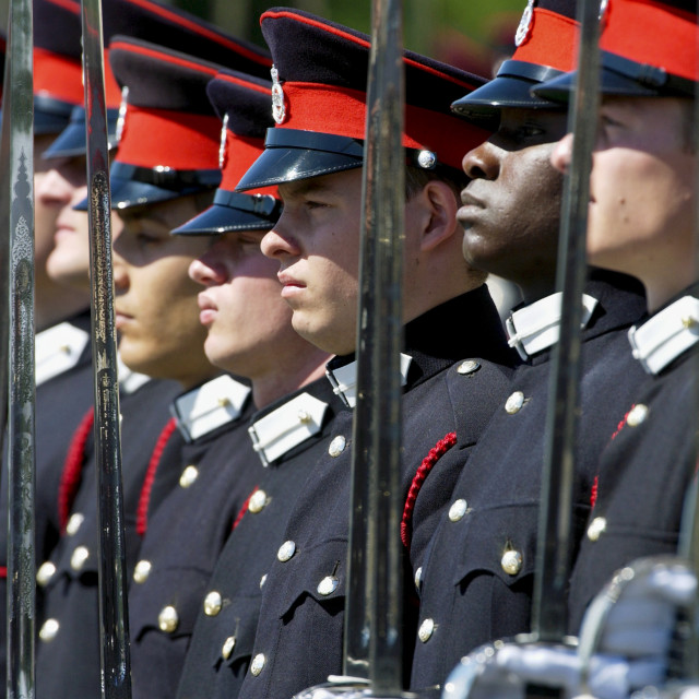 """""""Officer cadets at the Passing Out Parade at Sandhurst Royal Military Academy,..."""" stock image"""