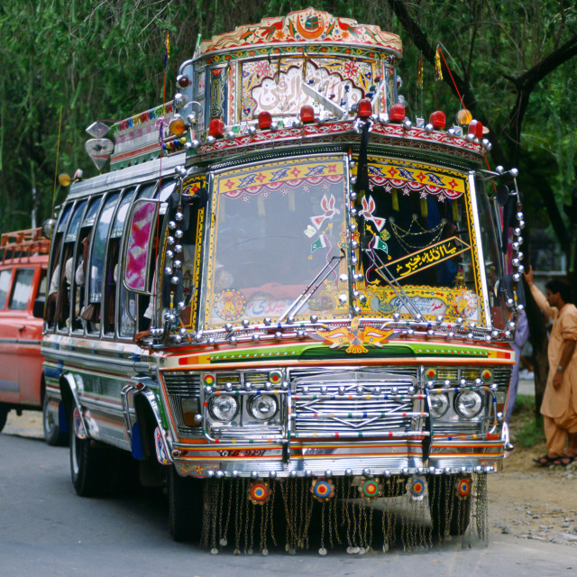 """""""A decorated bus in Islamabad, Pakistan"""" stock image"""