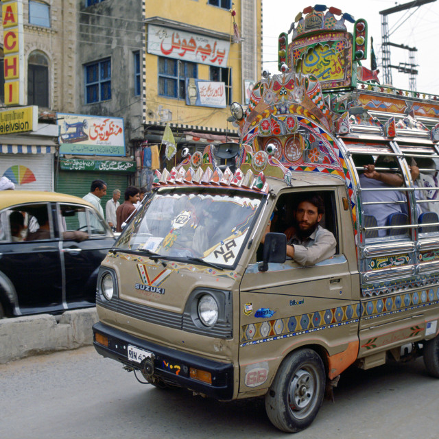 """Decorated bus, Islamabad, Pakistan"" stock image"