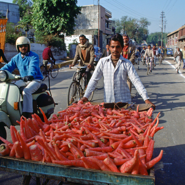 """""""Transporting food to market through the streets of Islamabad, Pakistan"""" stock image"""