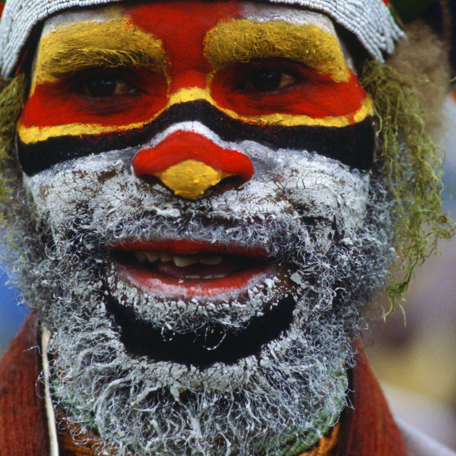 """Traditional face painting, Papua New Guinea"" stock image"