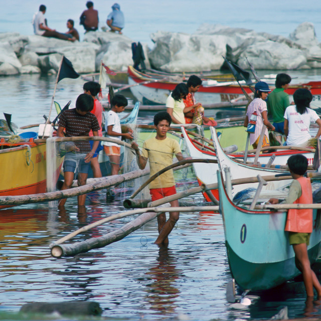 """""""Fishermen bring in their boats and their catch to the fish market in Manila,..."""" stock image"""