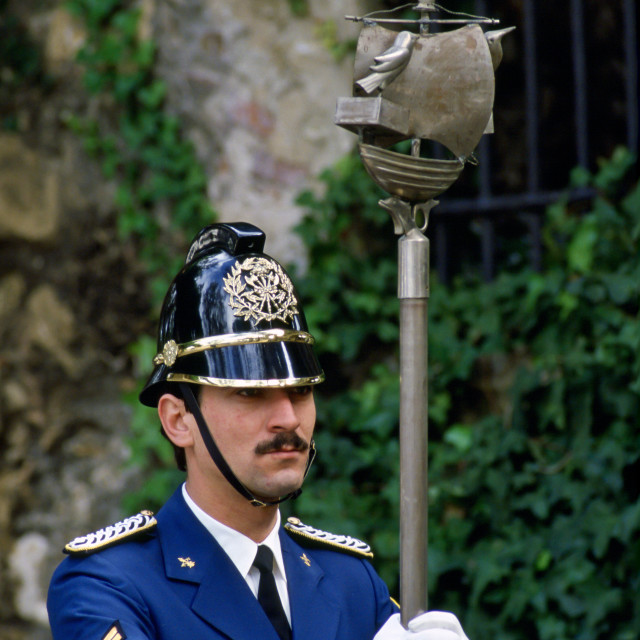 """Policeman on ceremonial duty in Portugal."" stock image"