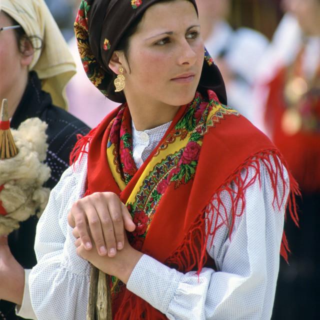 """Woman wearing Folk Costume, Oporto, Portugal"" stock image"