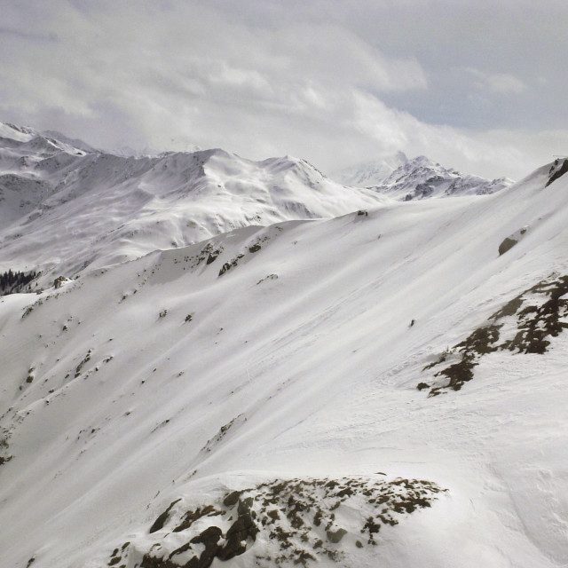 """The Wang ski run, Gotschnagrat near Klosters in Switzerland"" stock image"