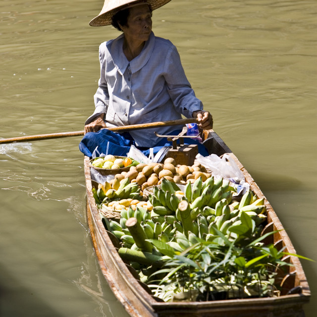 """Fruit seller in the Damnern Saduak floating market, Bangkok, Thailand"" stock image"