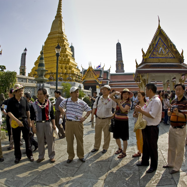 """""""Tourists visit the Grand Palace Complex in Bangkok, Thailand"""" stock image"""