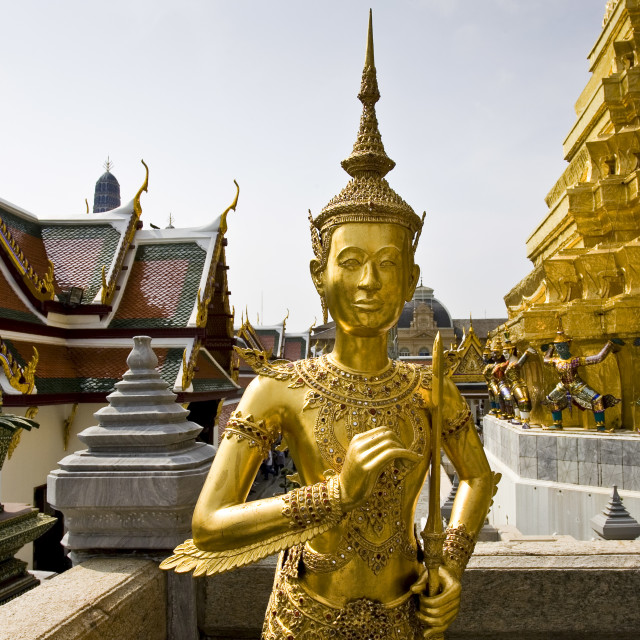 """Gilt statue inside The Grand Palace and Temple complex, Bangkok, Thailand"" stock image"