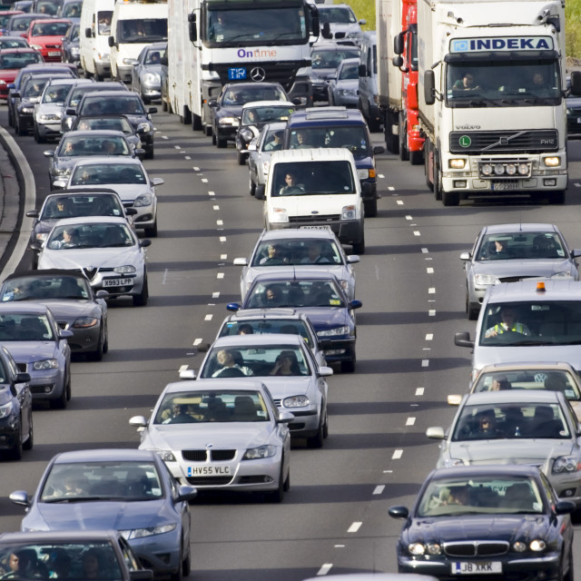 """""""Traffic congestion cars and trucks in all carriageways on M25 motorway,..."""" stock image"""
