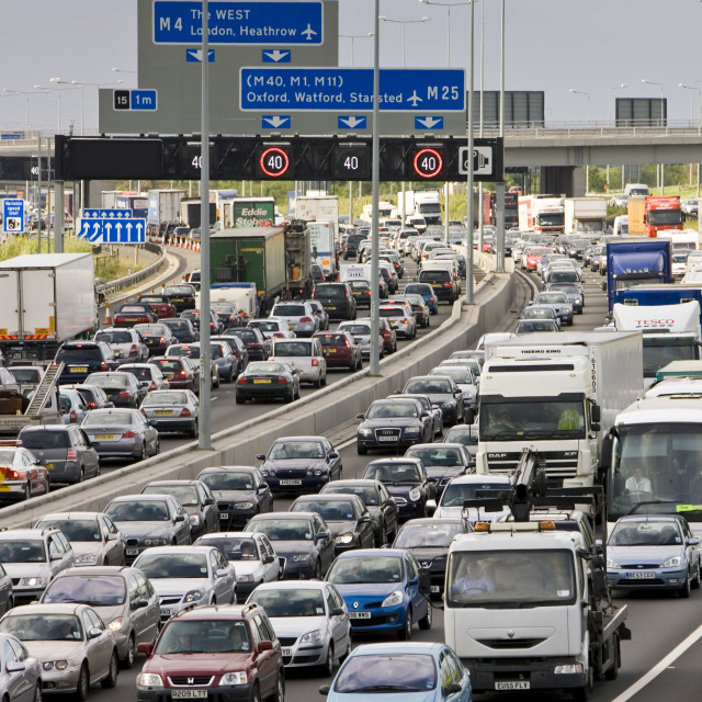 """""""Traffic congestion at a standstill in both directions on M25 motorway,..."""" stock image"""