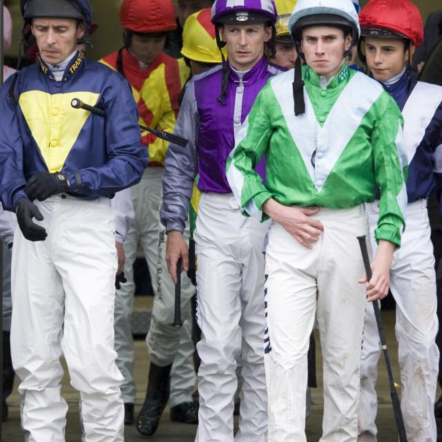 """Jockeys leave weighing-in room at Ascot Racecourse, Berkshire, England,..."" stock image"