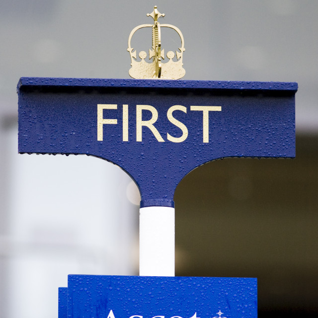 """Coronet above the First Post at Ascot Racecourse, Berkshire, England, United..."" stock image"