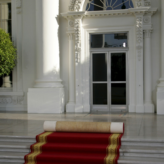 """""""The White House, Washington DC with red carpet rolled up, United States of..."""" stock image"""