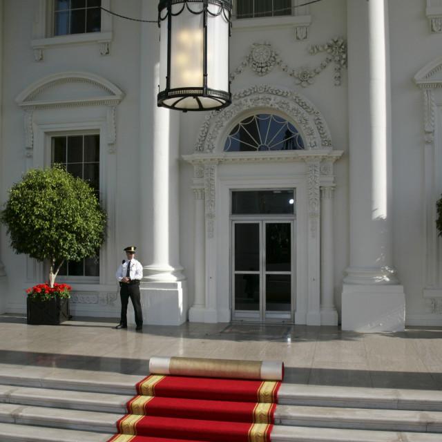 """Red carpet at The White House, Washington DC, United States of America"" stock image"