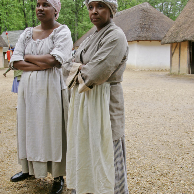 """""""Historical performers in costume in re-created colonial fort, Jamestown,..."""" stock image"""
