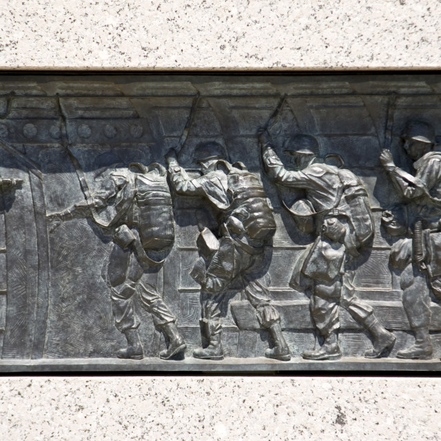 """""""Bronze relief at The National World War II Memorial in Washington D.C, United..."""" stock image"""