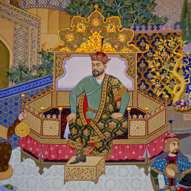 """""""Mural of Tamerlane, also known as Amir Timur or Timur the Great, at Tamerlane..."""" stock image"""