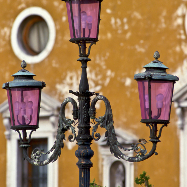 """Ornate street lamp in Venice, Italy"" stock image"