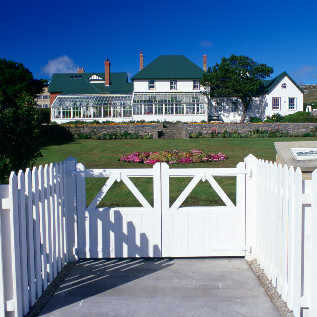"""Government House in Port Stanley, Falkland Islands"" stock image"