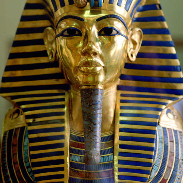 """Gold mask of the face of King Tutankhamun in the Cairo Museum in Egypt."" stock image"