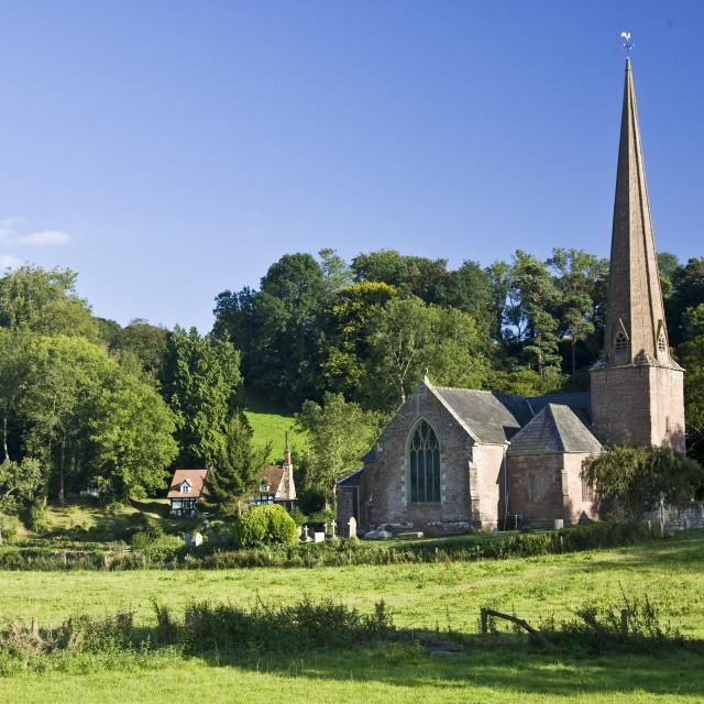 """Church of St Tysilio in Sellack, Herefordshire, England, United Kingdom"" stock image"
